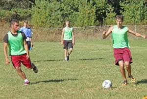 The Pocahontas County High School Warriors soccer team loses four outstanding seniors to graduation, but a talented crop of underclassmen is ready to step up and lead the team to the state tournament in 2014. Junior forward Cary Robertson, on the left,  led the team this season with 26 goals. Junior midfielder Phillip Green, on the right, was second in assists with 16. West Virginia sportswriters honored Robertson and three other Warriors with All-State recognition this year.
