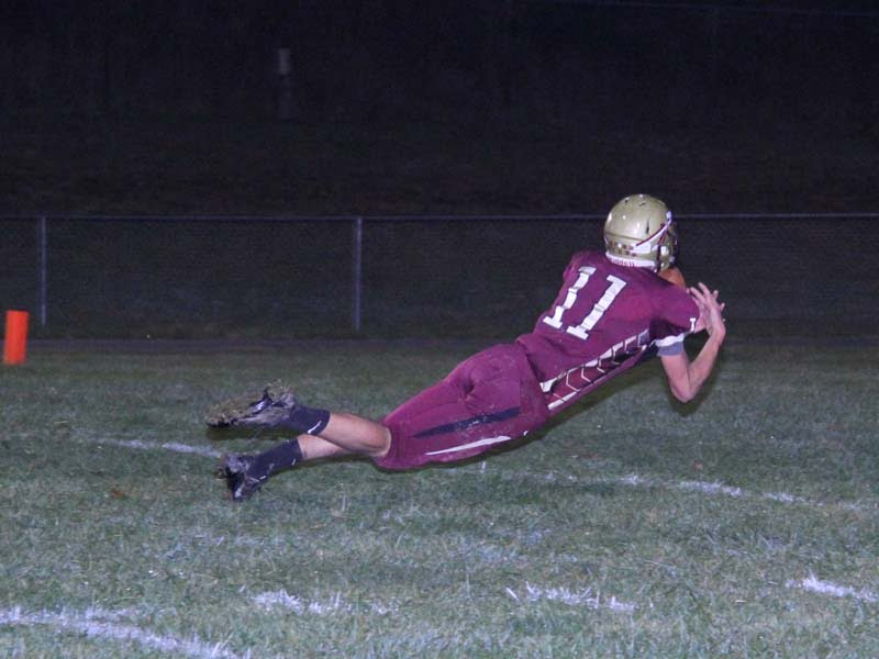 PCHS senior WR Andrew Morrison makes a leaping catch for a TD against Webster County on November 1, 2913.