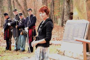 Poet Helena Gondry reads a poem by Louise McNeill Pease during a memorial ceremony at Droop Mountain Battlefield State Park on November 6, 2013. The battle occurred 150 years earlier on November 6, 1863. G. Hamill photos