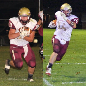 The West Virginia Sports Writers Association honored two PCHS Warriors football players in All-State balloting. Devin Rose, pictured on the left, made First Team All-State as a punter. Rose played fullback, linebacker and kicker for the Warriors. Brandon Hamons, pictured on the right, was awarded Honorable Mention by the writers. Hamons played tight end and linebacker for the Warriors.