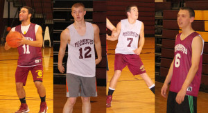 The Pocahontas County High School Boys Basketball teams opens their season on Tuesday evening with a home game against Webster County. Key players leading the Warriors this year include, left to right: junior Cary Robertson, senior David Hoover, sophomore Jimmy Hensler and junior Adam Irvine.