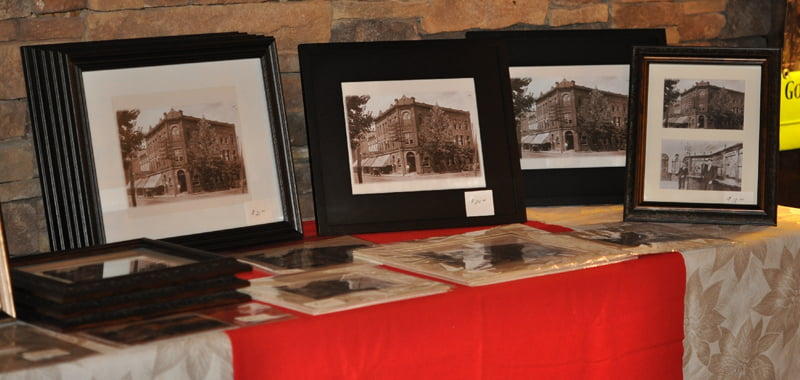"""Framed historic photos of the Bank of Marlinton are available to purchase at the Preserving Pocahontas office. Proceeds from the sale of the photos go to the """"Connecting to Collections fund. The building was one of three lost to the fire on November 10. Photo courtesy of B.J. Gudmundsson"""