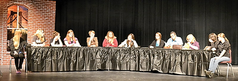 "Students in the Pocahontas County High School theatre class rehearse scenes from ""12 Angry Women."" The class performed for the community December 11. S. Stewart photo"