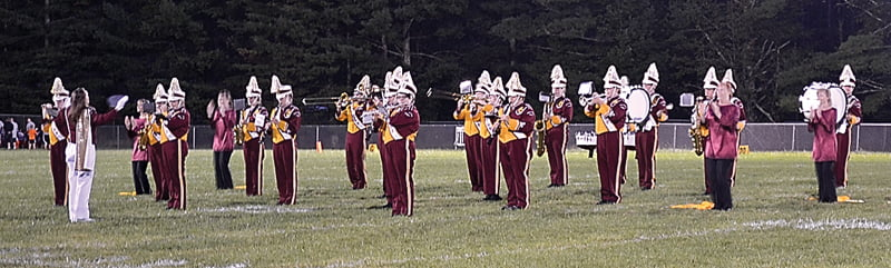 The Pride of Pocahontas Warrior Band wowed the crowds with its rendition of Beatles tunes this marching season. Above, the band performing at the Homecoming football game September 27.