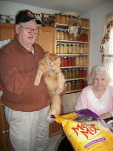 Arnold Elkins and Rachel Potter with Butterball.