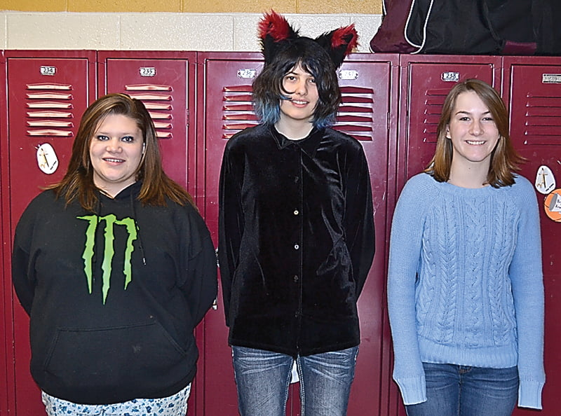 The top three readers in the Pocahontas County High School WV Reads 150 challenge were, from left: second place, Ida Moyers; first place, Morgan Leyzorek; and third place, Marilyn Creager. S. Stewart photo