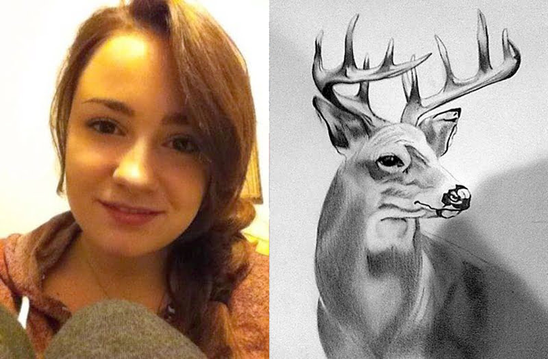 Audrey Lore, left, is a sophomore at Pocahontas County High School. Lore's drawing of a buck, right, is available at the Mason Jar in Marlinton. Lore began drawing as a child and continues to hone her craft at PCHS.  Photos courtesy of Erin Lore