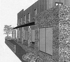 Zach Chittum is in the planning stage for construction of a new building at the corner of Main Street and Third Avenue in Marlinton. The current design, prepared by Marlinton native and design consultant Johnathan Smith, features four retail spaces on the ground floor and five suites on the second floor. In the photo, a view of the Third Avenue side of the proposed building, looking south. Anyone interested in leasing commercial space in the building should call Zach Chittum at 561-635-4035.
