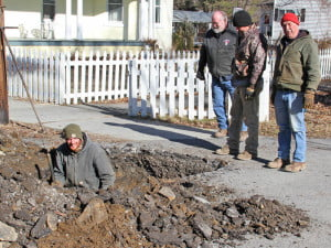 Marlinton town water crews and contractors have been working to restore normal water service after subzero temperatures in late January caused several malfunctions in the system. In the photo, left to right: Josh Sharp, Kenny Thomas, Johnny Moore and Town Maintenance Supervisor Mike Rider.