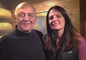 Documentary filmmaker Julia Huffman with National Geographic photographer Jim Brandenburg, who has spent 44 years photographing wolves in the Minnesota wildernesss. Brandenburg is featured in Huffman's film, Medicine of the Wolf, which is still in production. Photo courtesy Julia Huffman.