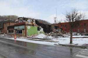 Marlinton Mayor Joe Smith told the Rebuild Task Force that a volunteer group is removing the ruined Hudson building form downtown.