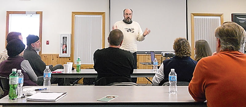 Doren Burrell, GUEST of the Pocahontas Nature Club, gave a talk and led a discussion on the birds of winter  Saturday at the McClintic Library in Marlinton.     S. Stewart photo