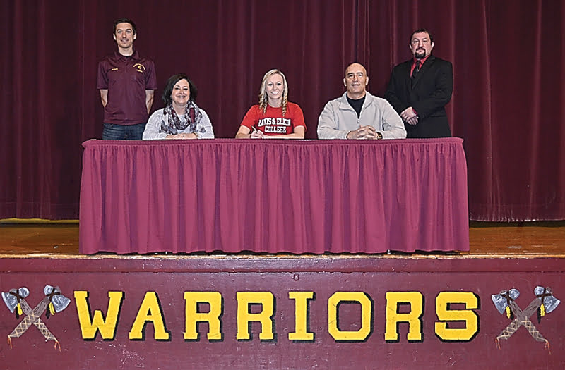 Pocahontas County High School senior Makeia Jonese, center, signed with Davis & Elkins College to play soccer next year. Jonese is joined by, from left:physical education teacher Jason Pyles, Cheryl Jonese, Sheriff David Jonese and PCHS principal Francis LaBounty. S. Stewart photo