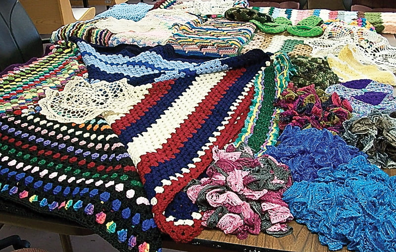 A Spring drawing of 26 crocheted items is part of the 'March Madness' fundraising efforts of the Pocahontas County Senior Citizens. Tickets for the drawing are available at the three county senior centers and from members of the senior crochet class. Photo courtesy of Beth Auldridge