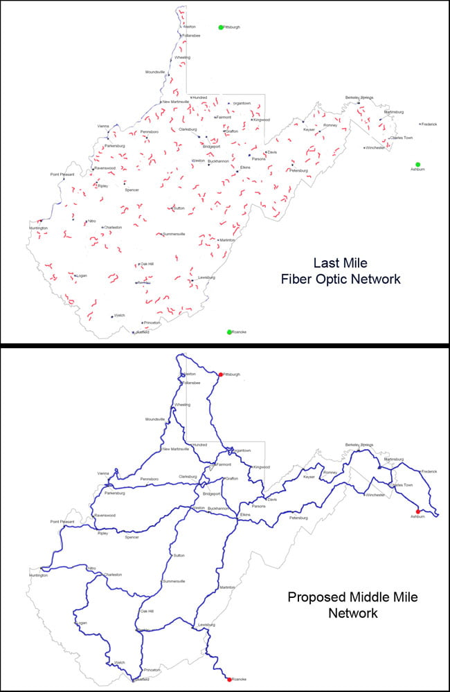 "Frontier Communications recently completed a $42 million project to install fiber optic Internet cable in West Virginia. According to Citynet CEO Jim Martin, only ""last mile"" fiber was installed, as shown in the top map. Martin says a ""middle mile"" network, as shown in the bottom map, is needed to bring quality broadband to rural areas like Pocahontas County."