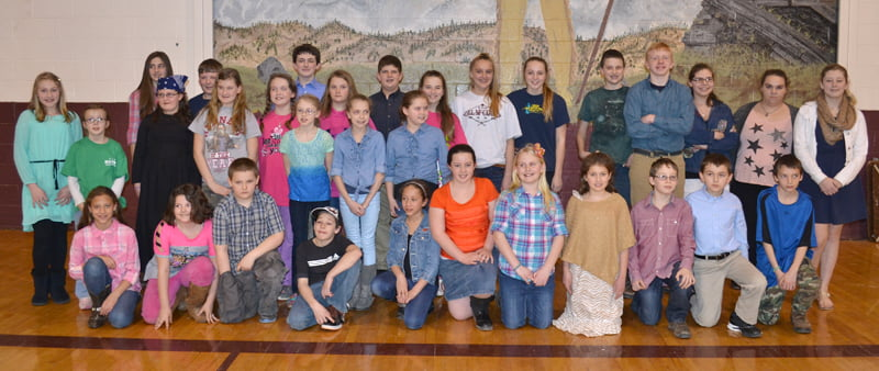 Participants in the Regional Social Studies Fair, front row, from left: Tasia Davis, Mary Pauley, William Feury, Cage Burdette, Kiara Davis, Jennalee Meck, Sierra Bircher, Emily Wilfong, Gareth Ryder, Scout Tankersley and Nathaniel Cottle. Second row, from left: Rayna Smith, Sydney Puffenbarger, Summer Foe, Hannah Buly, Noah Barkley, Cassidy Hardesty, Lexi Price, Makenna McKenney, Hunter Tankersley, Chloe Hardesty, Sarah Warder, Hunter Wilfong, Rachel Burns, Andrea Payton, Patience Garretson, Brianna Hefner, Logan Woodruff, Jacob Jones, Grace Schebek, Meggan Long and Aspan Holder. Not pictured: Emily Henderson, Brittney Matheny and Sage McLaughlin. S. Stewart photo