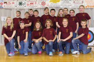 The Pocahontas County Elementary School Archery Team placed second in the state in a qualifying round and will compete in the state tournament on March 29 at the Charleston Civic Center. Pictured front row, l to r: Maria Workman, Ryan Combs, Chole Hardesty, Haley Spencer, Hazel Riley and Connor Spencer. Back row, l to r: Silas Riley, Dakota Dunbrack, Jesse Bostic, T. D. Sparks, Cassidy Hardesty, Jacob Kinnison, Tessa Kiner, Max Ervine, Macaden Taylor and Rayna Smith. Also qualifying as individuals were Stephen Simmons, Clayton Shinaberry, Jacob Pyne, Matthew Pritt, Kelly Pyne, Chloe Hardesty and Jacob Kinnison.  G. Hamill photo