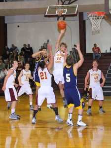 PCHS junior Stephen Mick makes a shot in the February 28 home game against Moorefield.