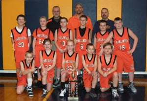 The Marlinton Middle School Fifth Grade Copperheads won the annual Highland County Basketball Tournament on May 1. The Copperheads defeated Highland County and Hillsboro in preliminary rounds and defeated Bath County in the championship game. In the photo, front row, l-r: Ian Seal, Tessa Kiner, Kinley Taylor, Blayton Loudermilk and Hadden Mick. Middle row, l-r: Alan Gibson, Maria Workman, Brandon Price, Jacob Davis, Brandon Burns and Jesse Bostic. Back row, l-r: coaches J.R. Kiner, Steve Mick and Mike Burns. Photo courtesy Rebecca Campbell.