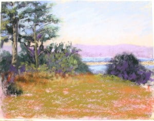 An unfinished pastel painting by Rose Dobbins.