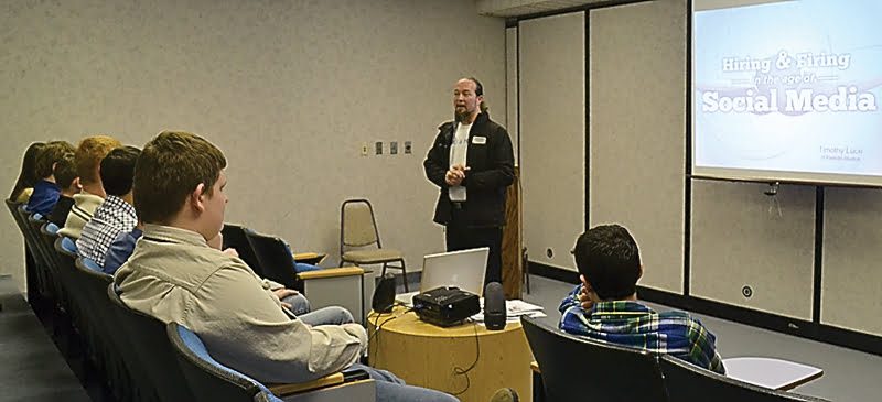 """At the Eighth Grade Business Luncheon at Snowshoe Mountain Resort last week, students attended three breakout sessions, including """"Hiring and Firing in the Age of Social Media,""""led by Timothy Luce, above. S. Stewart photo"""