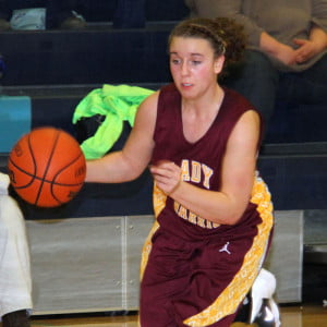 Tristin Day drives down court against Pendleton County on January 16, 2014. Day led the team this season with 416 points, a team-high average of 17.3 points per game.