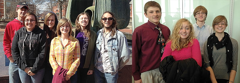 Participating in the Marshall University Honor Band, from left: Kyle Lester, Kayla Lester, Kimberly Lester, Amanda Gibson, Caitlin Barnes and Joey Friel. Friel also participated in the West Virginia University Honor Band. Right photo, students from Marlinton Middle School and Pocahontas County High School participated in the Virginia Tech Honor Band. From left, Mark Jordan, Kaitlyn Lester, Miles Goodall and Danielle Cain. Photos courtesy of Bob Mann