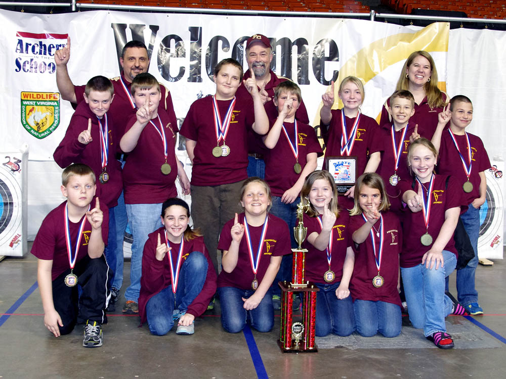 The Pocahontas County Elementary School archery team won first place in the state tournament on March 31 and will advance to the National Tournament in Louisville, Kentucky on May 9-11. Warrior shooters who took individual honors  were; Silas Riley #9 boy, Max Ervine #5 boy, and TD Sparks #2 boy. Maria Workman was #5 Girl. The top 5 individuals received plaques and medals. Way to go team.