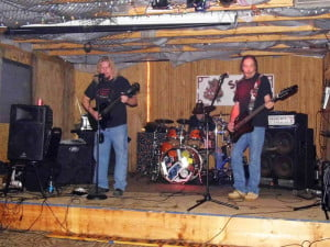Pocahontas County band Cold Ethyl won Second Place in the Battle of the Bands on March 29 at Stuart's Smokehouse in Alderson. Threat Point, from Scranton, Pennsylvania won First Place. In the photo, left to right, Jeff Hefner, Dwayne Edward Kennison and Fred Shaw. Photo by Alex Kennison.