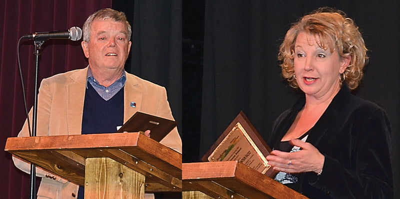 Marlinton resident Roger Trusler, left, received the 2014 Community Involvement Award for an individual. Allegheny Mountain Radio, represented by Melodie Wallace, right, received the 2014 Community Involvement Award for a business.  S. Stewart photos