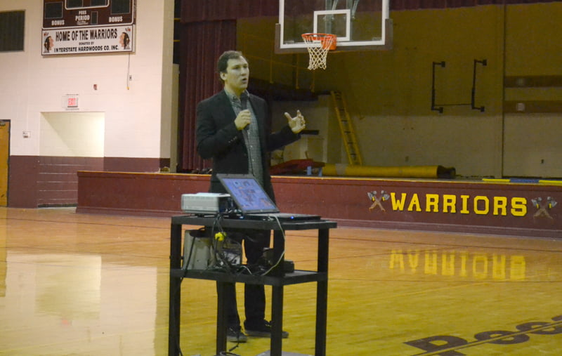Zander Srodes spoke at Pocahontas County High School Monday hoping to inspire the students to find a cause they are passionate about and make a change through their actions. S. Stewart photo