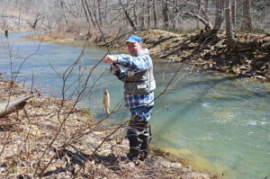 It was difficult to find an unoccupied pulloff along Knapps Creek this weekend, as droves of anglers plied the water for trout. In the photo, Tim Lafferty, of Wyoming County, pulls a rainbow trout out of the creek. Lafferty and his friend Riley Brooks, seen in the background, come to Pocahontas County every Sunday in the spring to fish.