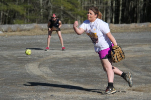 PCHS sophomore Kaylin Murray pitches in practice on March 31.