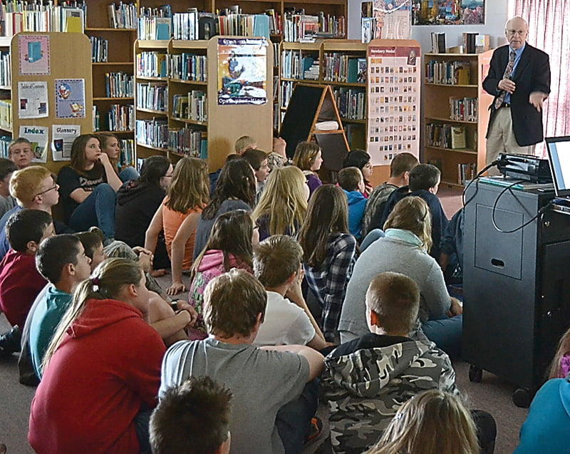 West Virginia Poet Laureate Marc Harshman visited Green Bank Elementary-Middle School and shared excerpts from his children's books, as well as some of his poetry. S. Stewart photo