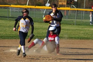 PCHS outfielder Lindsey Hartzell slides into second base.