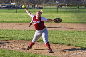 PCHS sophomore pitcher Kaylin Murray throws a pitch against Greenbrier West on April 23. The sophomore threw with excellent speed and control and struck out 10 batters in the game.