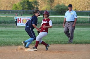 CHS sophomore left fielder Makayla Marks makes a play in the outfield on Thursday against Pendleton County. Marks hit two singles in the playoff doubleheader, the best offensive production for the Lady Warriors.