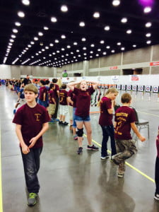 Members of the West Virginia State Champion Elementary Division archery team wait to shoot at the National Championship at the Expo Center in Louisville, Kentucky. The team competed against 144 other teams from across the U.S. Jody Spencer photo.
