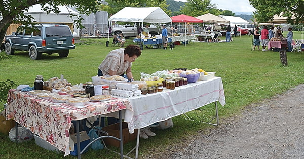 Maxine Shearer, of Marlinton, is one of several members who sells fresh produce and products, homemade goods and canned items at the local Farmers Market.  S. Stewart photo