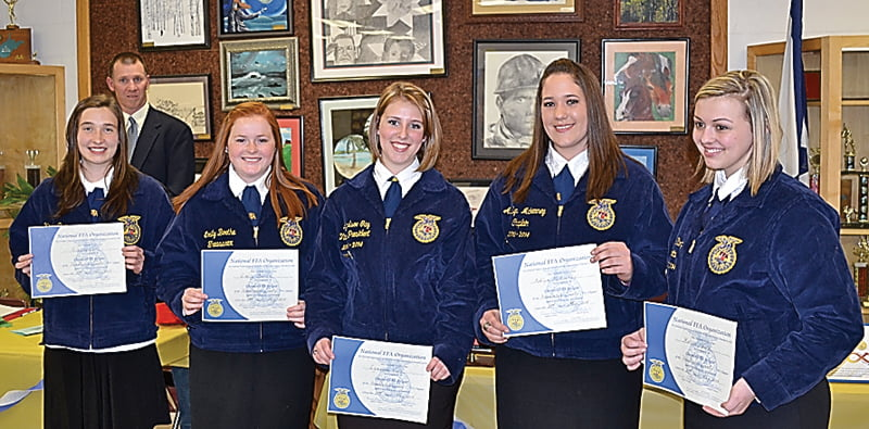 Recipients of the FFA Chapter Award are, from left:Kindra Carr, Emily Boothe, Lyndsee Gay, Ashlyn McKenney and Katlin Sharp. The FFAmembers received their awards at the annual banquet held at Pocahontas County High School May 2. S. Stewart photo