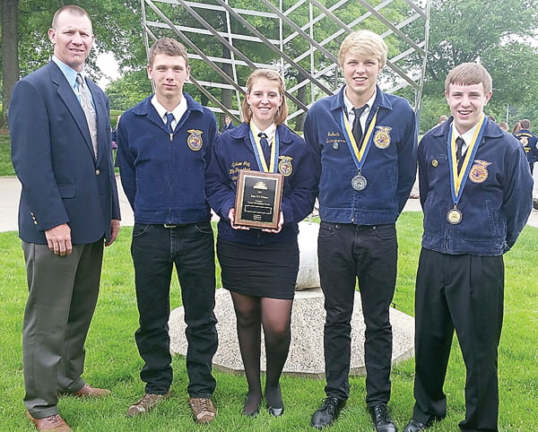 The Pocahontas County High School forestry team won first place at the state competition in Morgantown earlier this month. From left: forestry teacher Scott Garber, Adam Irvine, Lyndsee Gay, Steven Simmons and Matt Rao. Photo courtesy of Heather Simmons