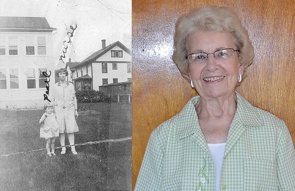 Left photo, four-and-a-half year old Pearl during her stay at Pocahontas Memorial Hospital. Although the photo labels the woman beside her as a nurse, Pearl remembers her as the cook. Right photo, Pearl Rexrode Clarkson, above, at her home in Arbovale.