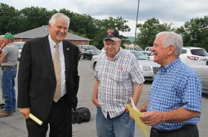 Congressman Nick Rahall visited Pocahontas County on Monday to hear details of a Board of Education proposal to occupy the Edray Business Center for vocational training. Several other politicians and community leaders attended the briefing. In the photo, left to right: State Senator Ronald Miller, Marlinton Mayor Joe Smith and Rahall.