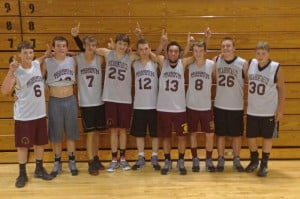 The Pocahontas County High School basketball team swept a four-game   practice series at Greenbrier West last Thursday. The Warriors defeated Meadow Bridge, Liberty (Raleigh), West and Greenbrier Easy JV. In the photo, left to right: Brian Wilfong, J.D.Hensler, Stephen Mick, Dalton Irvine, Adam Irvine, Cary Robertson, Braxton Rider, Brady Jones and Jarrett Taylor.