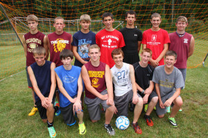 The 2014 Pocahontas County High School Warriors soccer team. Front row, left to right: Connor Pyles, Matthew Pritt, Trey Walton, Logan Burks, Kendel Ober and Kevin Bennett. Back row, left to right: Chad Friel, Austin Hubbert, Brandon Cassell, Phillip Green, Patrick Collins, Shane Alderman and Conlin Halterman. The Warriors open their season on August 26 at 7 p.m. at Warrior Field against Philip Barbour.