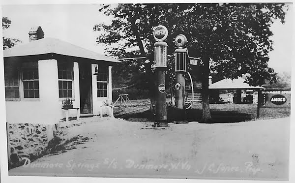 Photo courtesy of the Dunmore Community Center The Dunmore Springs, located about a mile outside the main part of town, was the site of a service station, picnic shelter, swimming pool and beer joint. Residents continue to collect cold water from the spring.