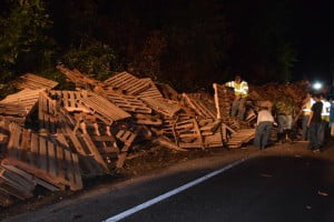 Pallets lined Route 250 after a truck overturned north of Durbin Friday night.