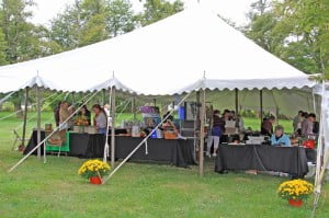 Sixteen female artists displayed their creations at Saturday's Woman and the Arts event, under cover of a large canopy. Pocahontas County Parks and Recreation provided the tent for the event.