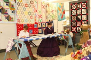 Quilters occupied the school annex during the festival.