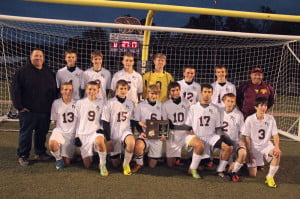 The Pocahontas County Warriors after winning the 2014 Region III, Section I Championship in Summersville Thursday night.